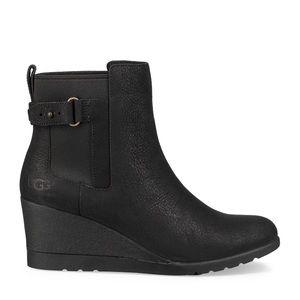 UGG Indra Waterproof Wedge Boot Black Size 6